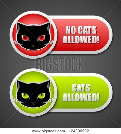 Cats allowed and no cats allowed permission icons poster