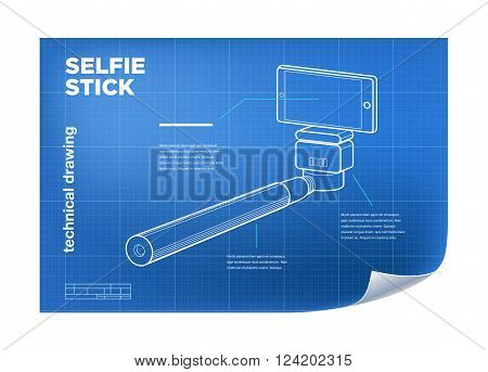 Technical Illustration with isometric line selfie stick drawing on the blueprint