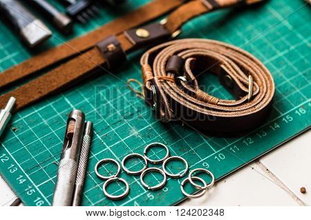 Leather craft. Work table of leathersmith tool