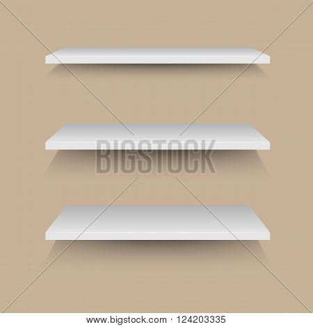 White shelves on brown wall, stock vector