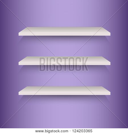 Book shelves on violet background, stock vector