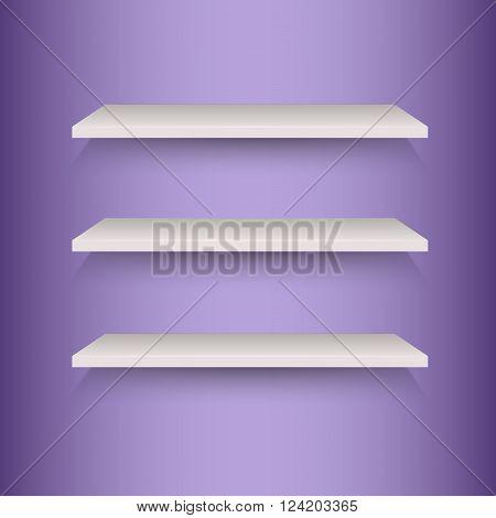 Book shelves on violet background, stock vector
