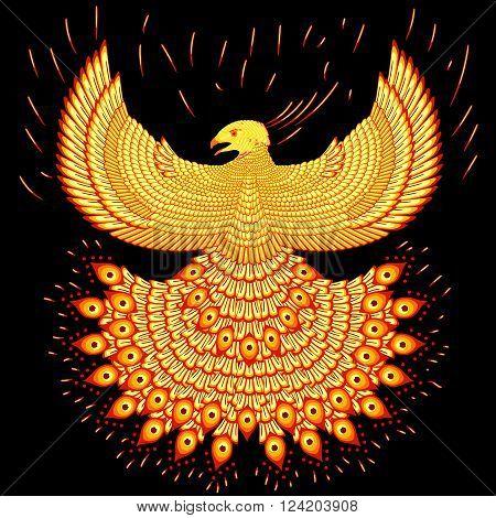 Vector illustration fiery phoenix. Fly phoenix flaming.