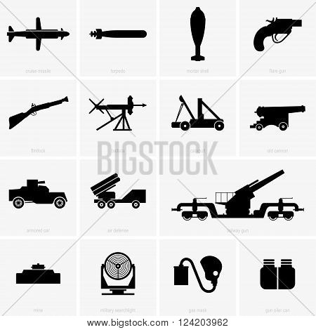 Set of military icons ( shade pictures )