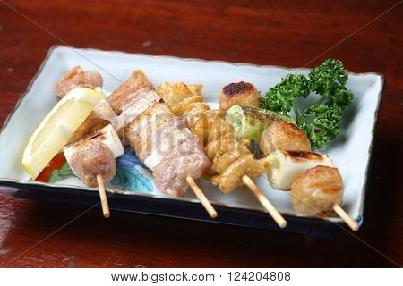 close up shot of Japanese chicken barbecue yakitori