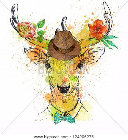 deer fashion colorful character portrait with glasses