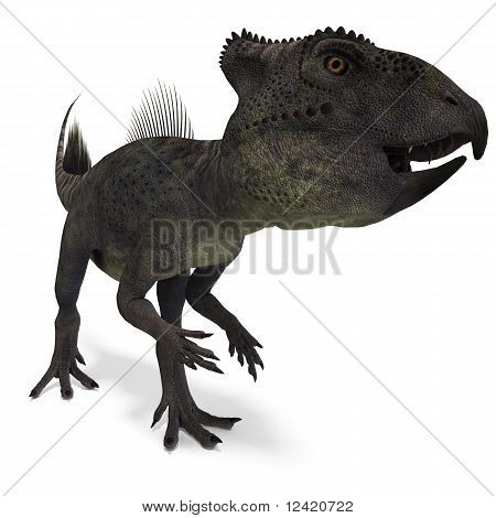 Dinosaur Archaeoceratops. 3D rendering with clipping path and shadow over white poster