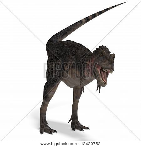 Dinosaur Tarbosaurus. 3D rendering with clipping path and shadow over white poster