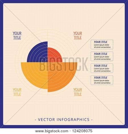 Multicolored editable data driven polar chart template with four sectors on beige background