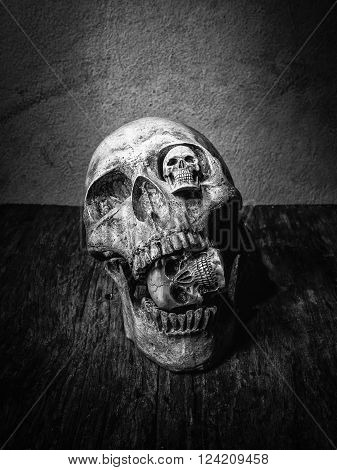 Abstract  three face of skull in still life