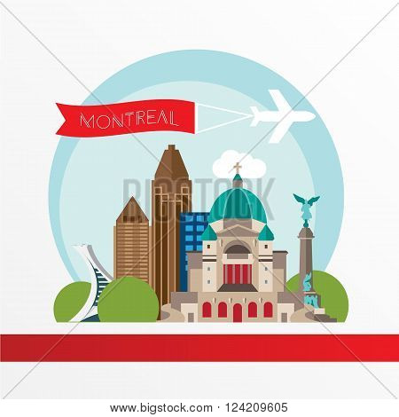 Montreal detailed silhouette. Trendy vector illustration, flat style. Stylish colorful  landmarks. The concept for a web banner. St Joseph Oratory - The symbol of Montreal, Canada