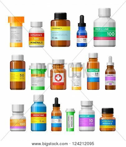 Set Of Medicine Bottles With Labels