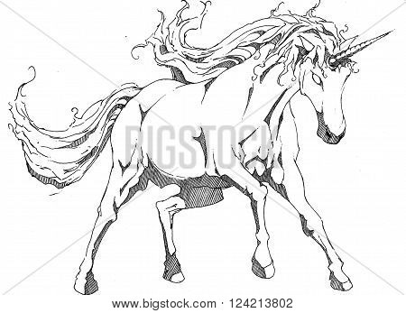 black and white unicorn with flowing mane prancing