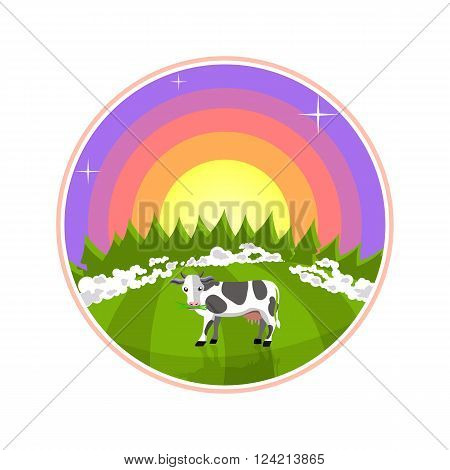 Cartoon illustration of rural areas. Cow in the field at sunrise. Foggy meadow with a cow, forest and sun