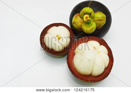 Mangosteen on white background and Thai seasonal fruit