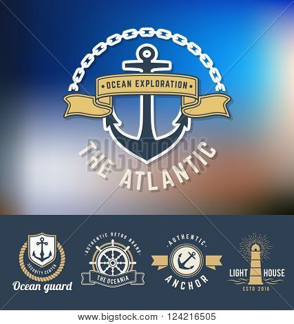 Set of nautical Logo Template. Suitable for Sea food restaurant Coast guard Nautical business Yachting and other design. Vector illustration