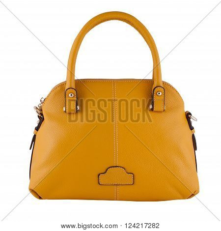 Yellow  Female Leather Bag Isolated On White Background
