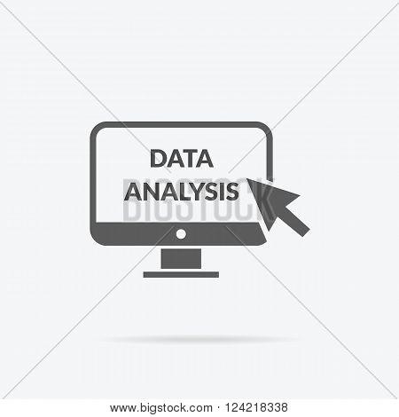 Marketing data analytics analyzing statistics chart. Data analysis seo concept. Monitor with text Data Analysis. Isolated data analysis icon  Flat icon modern design style vector illustration concept.