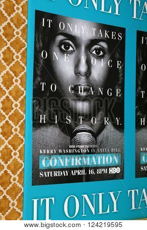 LOS ANGELES - MAR 31:  Atmosphere -  Confirmation Poster at the Confirmation HBO Premiere Screening at the Paramount Studios Theater on March 31, 2016 in Los Angeles, CA
