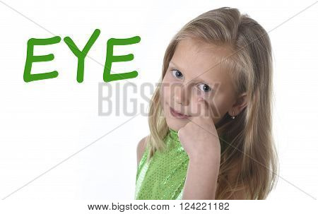 6 or 7 years old little girl with blond hair and blue eyes smiling happy posing isolated on white background pointing eye in learning English language school education body parts card set