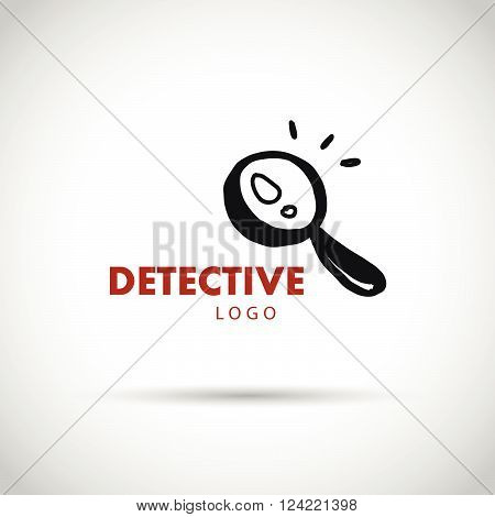 Flat detective agency logo design. Hand drawn magnifying glass. Detective bureau insignia. Business card, leaflet flyer. Poster, banner, placard. Article, story, book illustration.