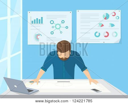 Professional architect or project manager is planning the work or drawing a building scheme. Flat illustration of business man stands near the workdesk and looks at the paper on the table