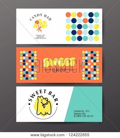 Vector flat candy bar and sweet shop logo design. Sweet store insignia cards design. Bakery, kid toys store, home made cakes, pies logo, restaurant, cafe, catering brand mark leaflet design.