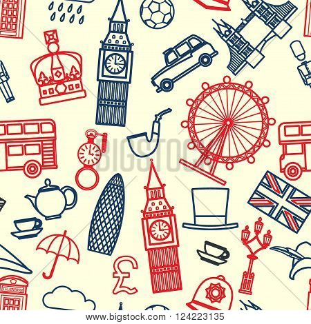 Vector Illustration of England Icon Outline Seamless PAttern for Design, Website, Background, Banner. Travel Britain Logo Landmark Silhouette  Element Template for Tourism Flyer. Big Ben, London Eye, Bus, Taxi, Crown