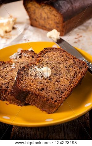 Banana Bread And Butter On Plate