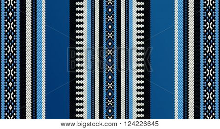 Blue Theme Sadu Weaving Middle Eastern Traditional Rug Texture