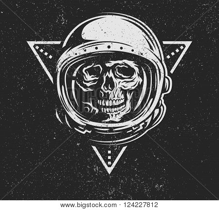 Lost in space. Dead astronaut in spacesuit and geometric element.