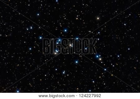 M44 Open Cluster, Colorful stars in the night sky
