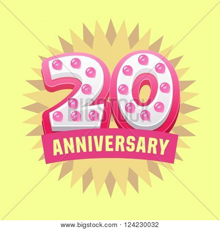 Cute and bright vector greeting 20 anniversary card. Gift for birthday, wedding and other celebration