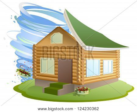 Property insurance. Hurricane destroyed house. Illustration in vector format