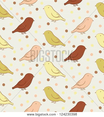 Seamless pattern with birds in neutral colors