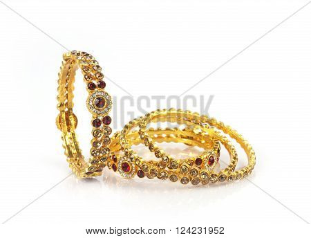 Wedding gold Traditional bracelets Isolated on White poster