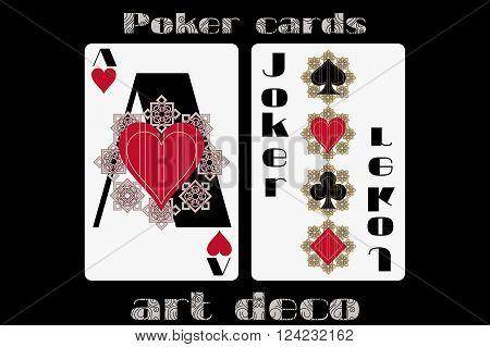 Poker Playing Card. Ace Heart. Joker. Poker Cards In The Art Deco Style. Standard Size Card.