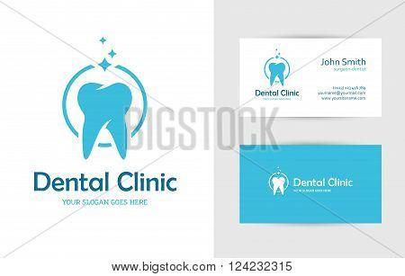 Blue round logo with tooth and business card design template for dental clinic dentist teeth care or oral hygiene concept