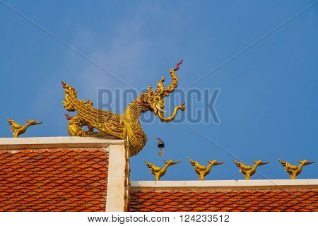 roof style of thai temple with gable apex on the top