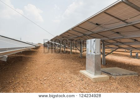 The control box of solar farm for green energy in the field in Thailand with selective focus