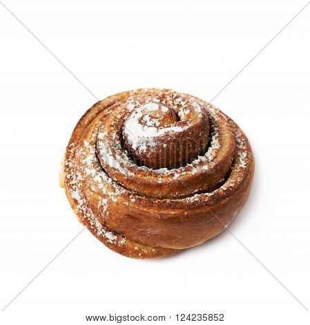 Cinnamon roll bun coated with the sugar powder, composition isolated over the white background