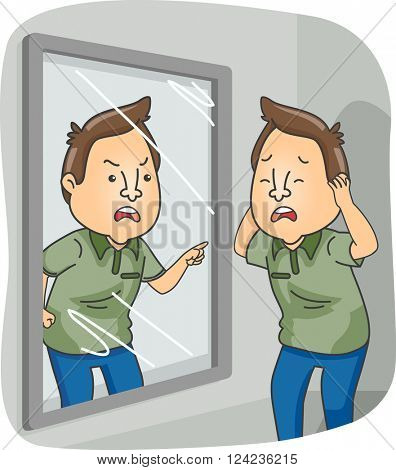 Illustration of a Man with Dissociative Identity Disorder Standing in Front of a Mirror