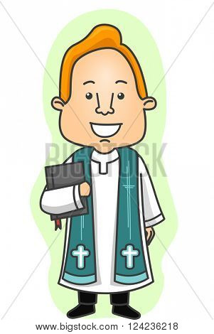Illustration of a Priest in a Cassock Carrying a Bible