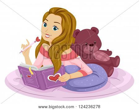 Illustration of a Teenage Girl Writing on Her Diary
