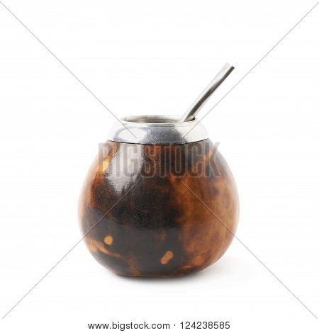 Calabash mate gourd with a bombilla drinking straw inside it, composition isolated over the white background ** Note: Soft Focus at 100%, best at smaller sizes
