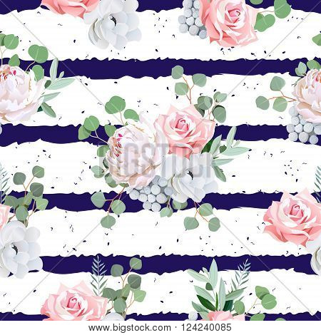 Navy striped print with bouquets of rose peony anemone brunia flowers and eucaliptis leaves. Seamless vector pattern with speckled backdrop.