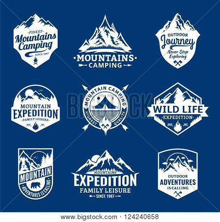 Set of vector mountain and outdoor adventures logo. Tourism hiking and camping labels. Mountains and travel icons for tourism organizations outdoor events and camping leisure.