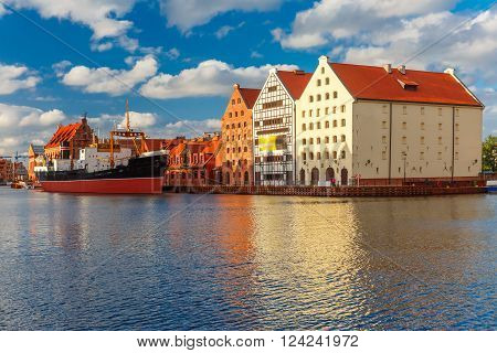 Island Olowianka and Motlawa River in the sunny morning, Old Town of Gdansk, Poland