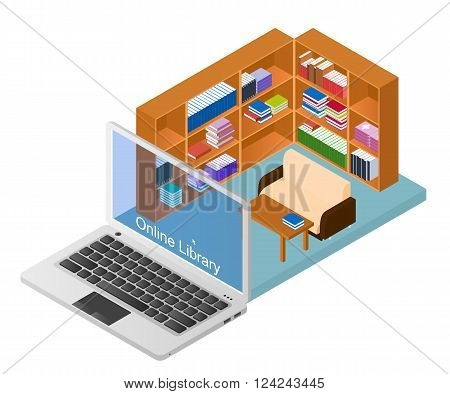 Online library. A web site with a collection of electronic books. Educational materials. Concept Laptop with the library. E-education. Vector illustration.