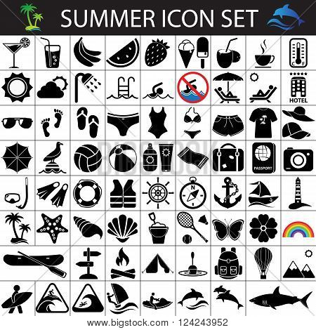 summer flat icons, summer icon set,  holidays icons, tourism icons, beach icons, vacation icons, summer icons, journey icons, recreation icons poster